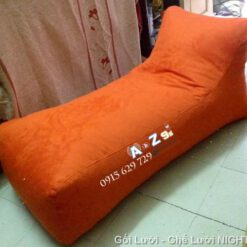 Giường lười hạt xốp GL040 màu da cam (Chất liệu Kate phi cao cấp)